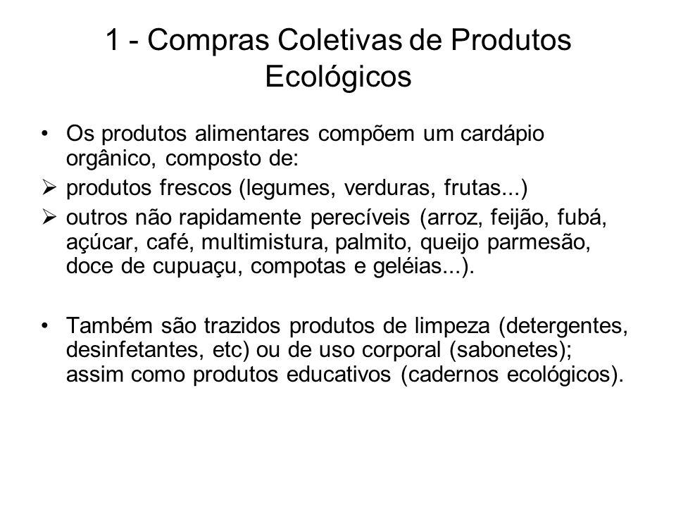 1 - Compras Coletivas de Produtos Ecológicos Os produtos alimentares compõem um cardápio orgânico, composto de: produtos frescos (legumes, verduras, f