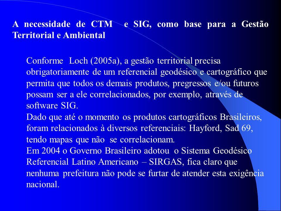 A necessidade de CTM e SIG, como base para a Gestão Territorial e Ambiental Conforme Loch (2005a), a gestão territorial precisa obrigatoriamente de um