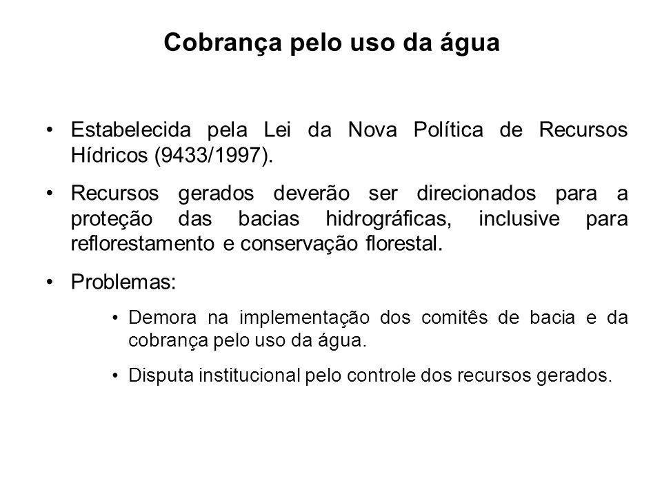 Estabelecida pela Lei da Nova Política de Recursos Hídricos (9433/1997). Recursos gerados deverão ser direcionados para a proteção das bacias hidrográ