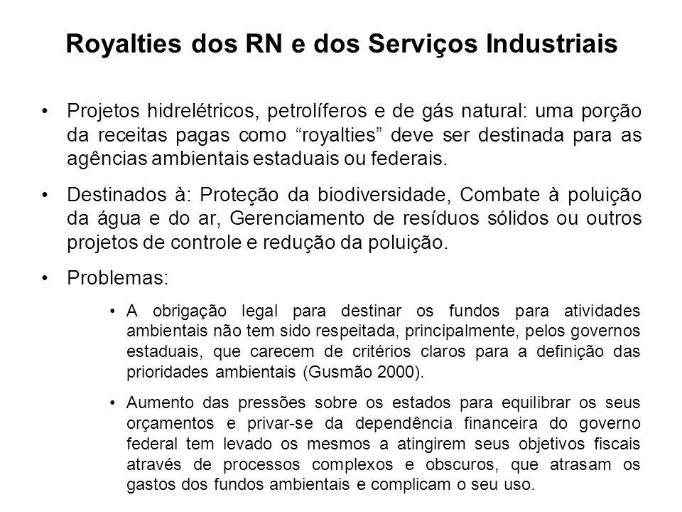 Projetos hidrelétricos, petrolíferos e de gás natural: uma porção da receitas pagas como royalties deve ser destinada para as agências ambientais esta