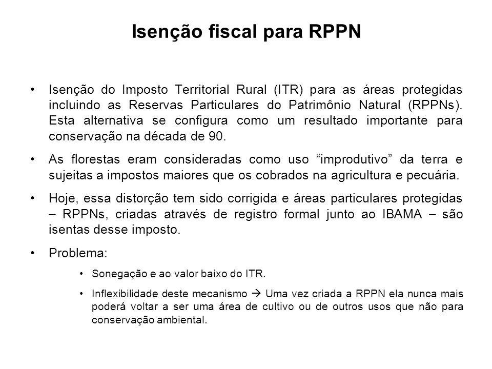 Isenção do Imposto Territorial Rural (ITR) para as áreas protegidas incluindo as Reservas Particulares do Patrimônio Natural (RPPNs). Esta alternativa