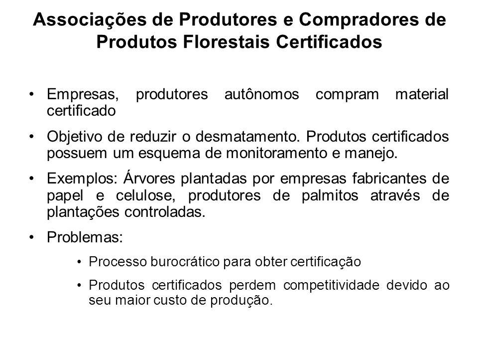 Empresas, produtores autônomos compram material certificado Objetivo de reduzir o desmatamento. Produtos certificados possuem um esquema de monitorame