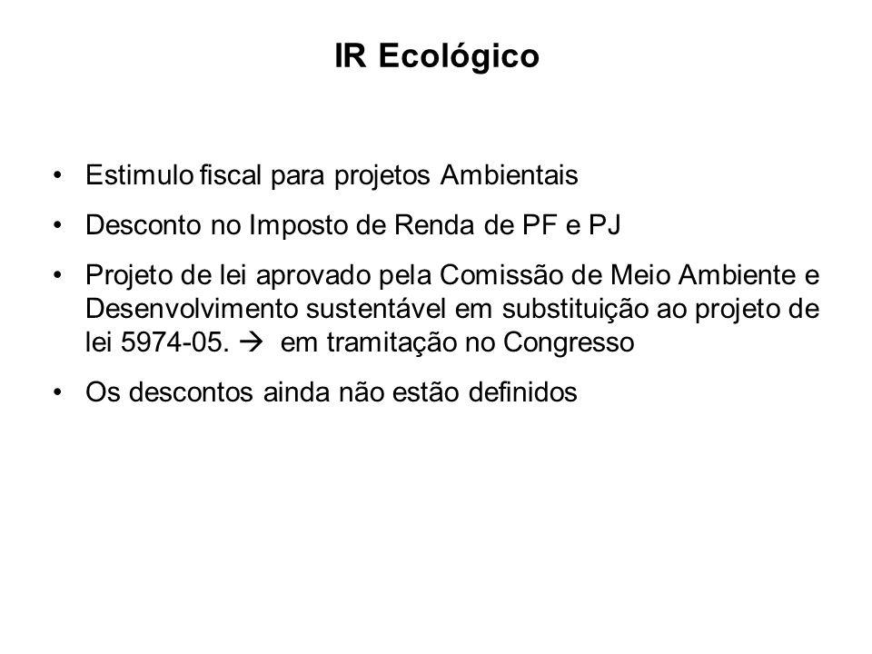 Estimulo fiscal para projetos Ambientais Desconto no Imposto de Renda de PF e PJ Projeto de lei aprovado pela Comissão de Meio Ambiente e Desenvolvime