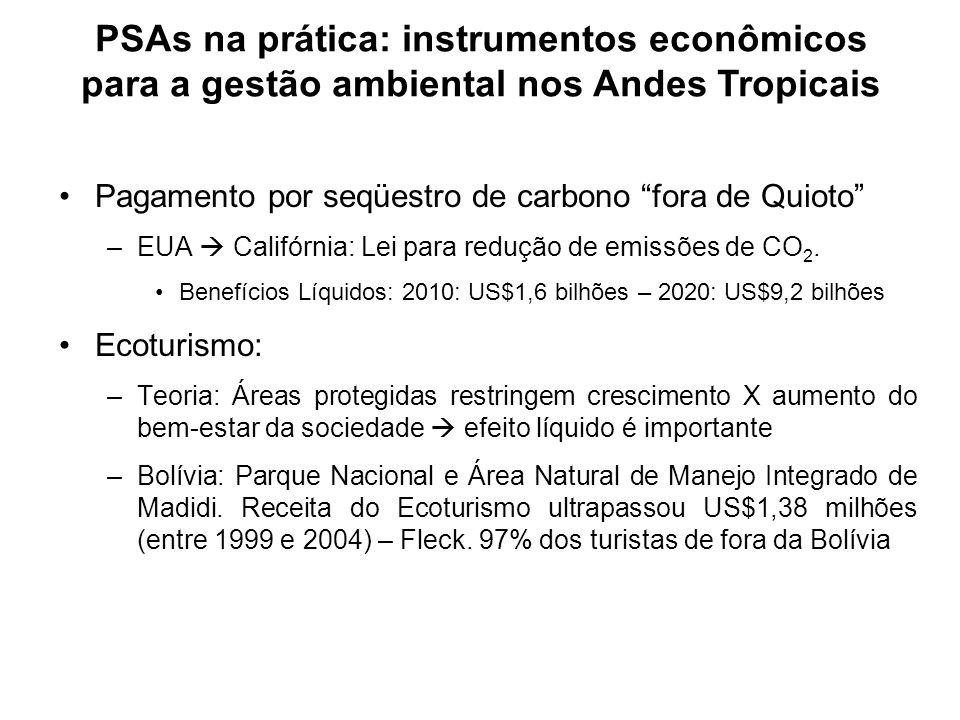 Pagamento por seqüestro de carbono fora de Quioto –EUA Califórnia: Lei para redução de emissões de CO 2. Benefícios Líquidos: 2010: US$1,6 bilhões – 2