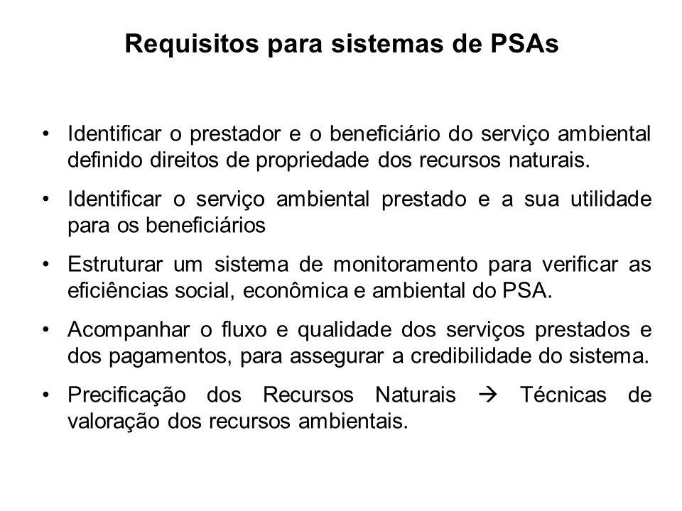Identificar o prestador e o beneficiário do serviço ambiental definido direitos de propriedade dos recursos naturais. Identificar o serviço ambiental