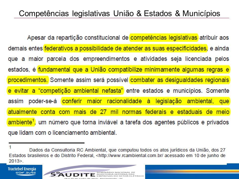 13 Competências legislativas União & Estados & Municípios