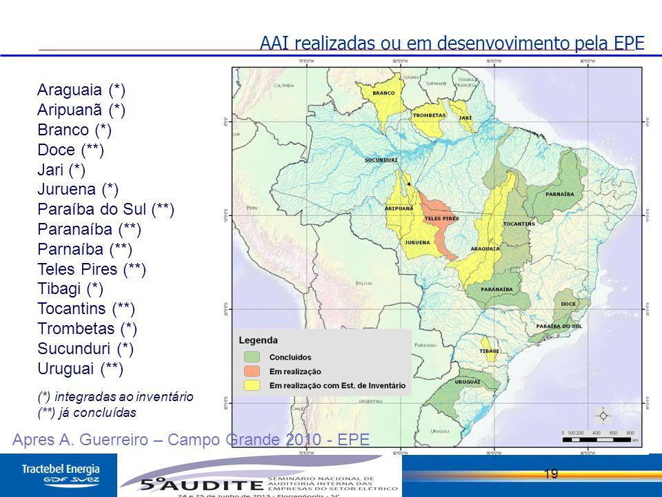 19 Araguaia (*) Aripuanã (*) Branco (*) Doce (**) Jari (*) Juruena (*) Paraíba do Sul (**) Paranaíba (**) Parnaíba (**) Teles Pires (**) Tibagi (*) To