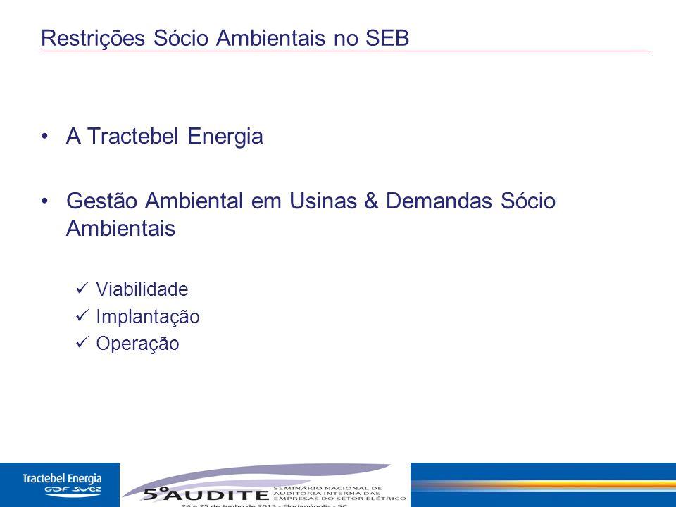 2 Restrições Sócio Ambientais no SEB A Tractebel Energia Gestão Ambiental em Usinas & Demandas Sócio Ambientais Viabilidade Implantação Operação