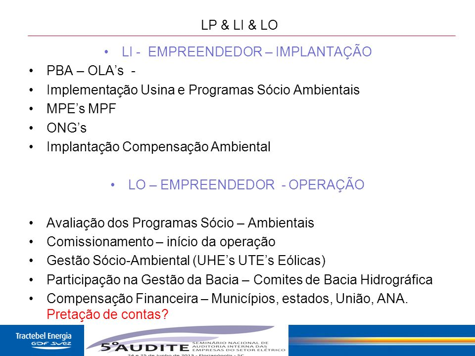 22 LP & LI & LO LI - EMPREENDEDOR – IMPLANTAÇÃO PBA – OLA's - Implementação Usina e Programas Sócio Ambientais MPE's MPF ONG's Implantação Compensação