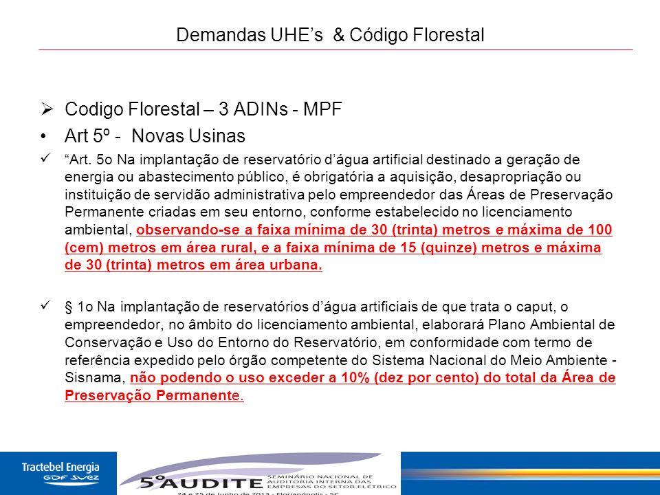 """23 Demandas UHE's & Código Florestal  Codigo Florestal – 3 ADINs - MPF Art 5º - Novas Usinas """"Art. 5o Na implantação de reservatório d'água artificia"""