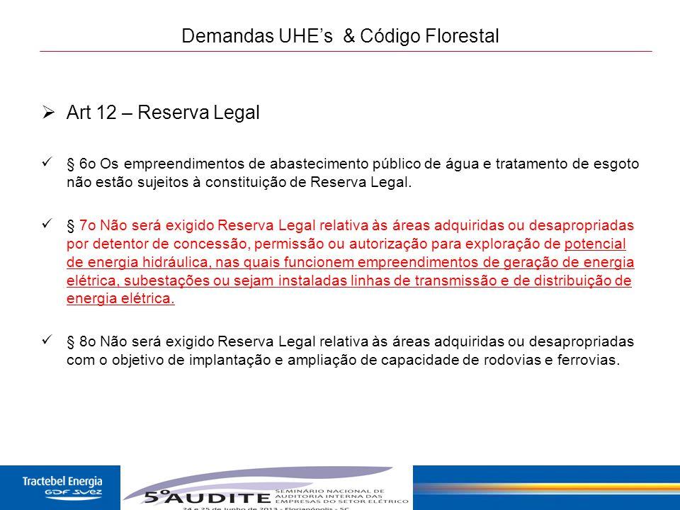 24 Demandas UHE's & Código Florestal  Art 12 – Reserva Legal § 6o Os empreendimentos de abastecimento público de água e tratamento de esgoto não estã
