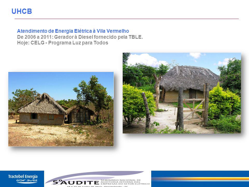 29 Atendimento de Energia Elétrica à Vila Vermelho De 2006 a 2011: Gerador à Diesel fornecido pela TBLE. Hoje: CELG - Programa Luz para Todos UHCB