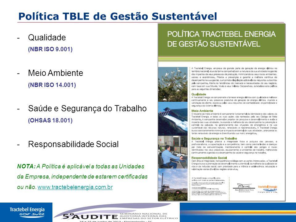 4 Política TBLE de Gestão Sustentável -Qualidade (NBR ISO 9.001) -Meio Ambiente (NBR ISO 14.001) -Saúde e Segurança do Trabalho (OHSAS 18.001) -Respon