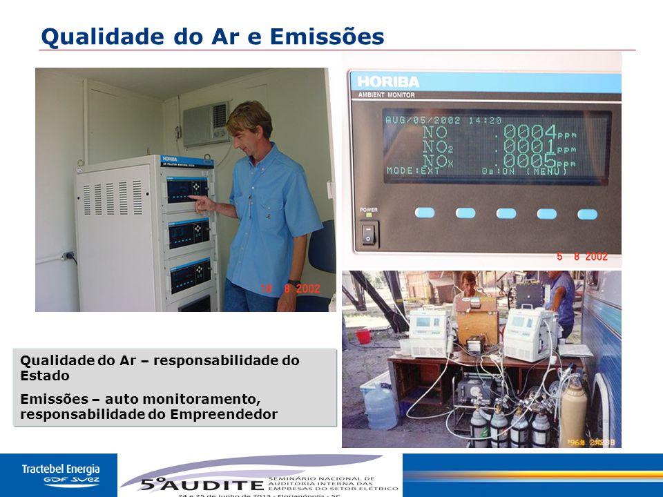 43 Qualidade do Ar e Emissões Qualidade do Ar – responsabilidade do Estado Emissões – auto monitoramento, responsabilidade do Empreendedor