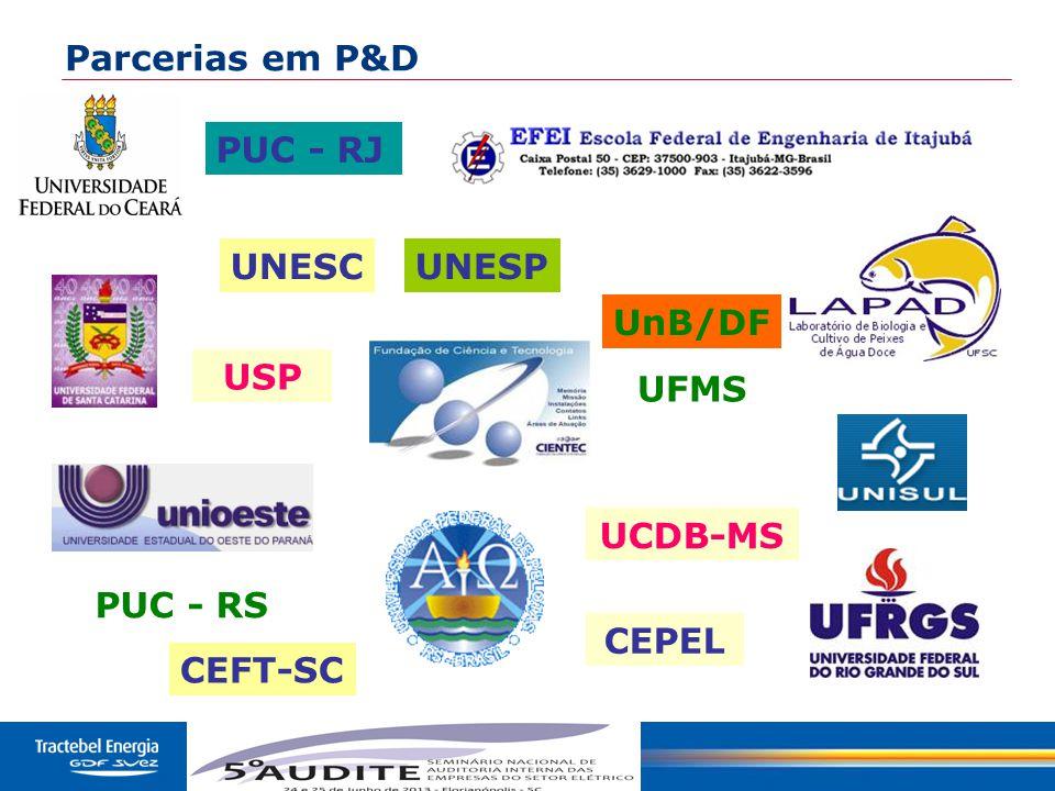 50 PUC - RS CEFT-SC PUC - RJ CEPEL USP UNESCUNESP UFMS UnB/DF UCDB-MS Parcerias em P&D