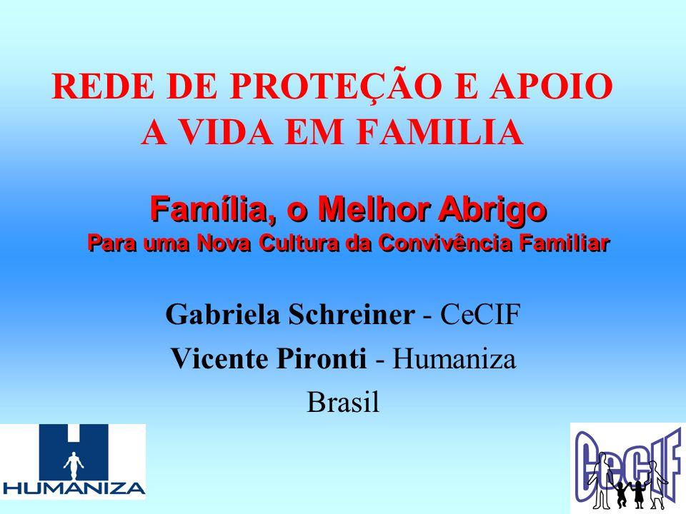 REDE DE PROTEÇÃO E APOIO A VIDA EM FAMILIA Gabriela Schreiner - CeCIF Vicente Pironti - Humaniza Brasil Família, o Melhor Abrigo Para uma Nova Cultura da Convivência Familiar Família, o Melhor Abrigo Para uma Nova Cultura da Convivência Familiar