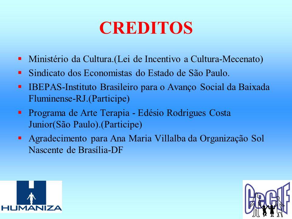 CREDITOS  Ministério da Cultura.(Lei de Incentivo a Cultura-Mecenato)  Sindicato dos Economistas do Estado de São Paulo.