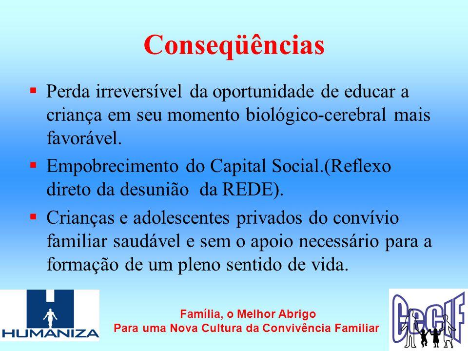 Conseqüências  Perda irreversível da oportunidade de educar a criança em seu momento biológico-cerebral mais favorável.
