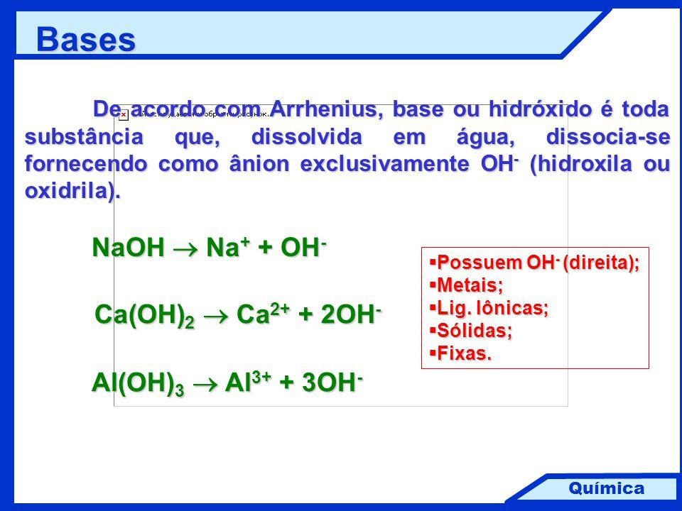 Química Bases De acordo com Arrhenius, base ou hidróxido é toda substância que, dissolvida em água, dissocia-se fornecendo como ânion exclusivamente O