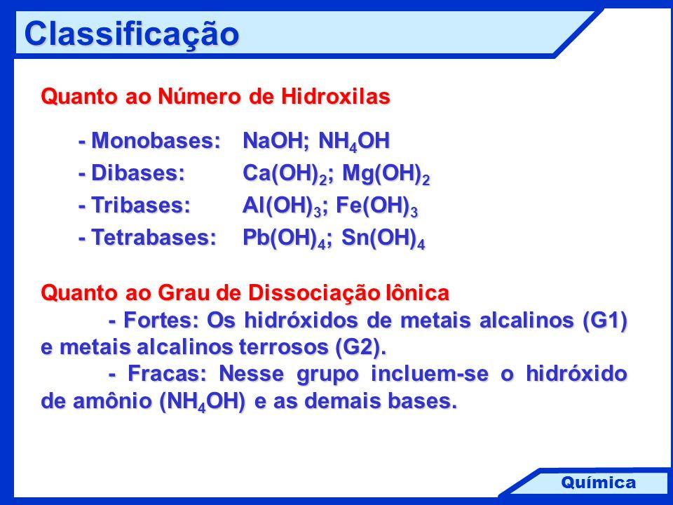 Química Classificação Quanto ao Número de Hidroxilas - Monobases: NaOH; NH 4 OH - Monobases: NaOH; NH 4 OH - Dibases: Ca(OH) 2 ; Mg(OH) 2 - Dibases: C