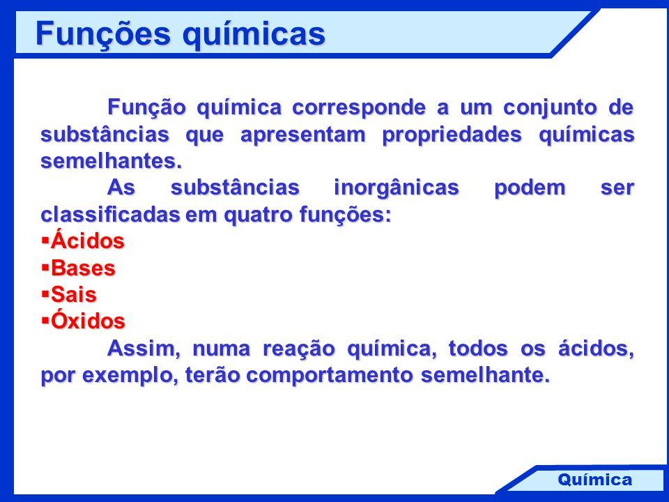 Química Função química corresponde a um conjunto de substâncias que apresentam propriedades químicas semelhantes. As substâncias inorgânicas podem ser