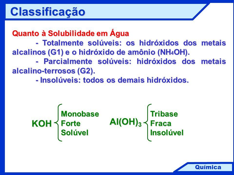 Química Classificação Quanto à Solubilidade em Água - Totalmente solúveis: os hidróxidos dos metais alcalinos (G1) e o hidróxido de amônio (NH 4 OH).