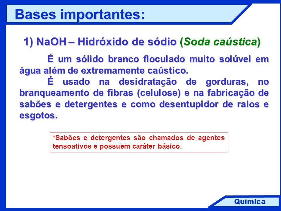 Química 1) NaOH – Hidróxido de sódio (Soda caústica) É um sólido branco floculado muito solúvel em água além de extremamente caústico. É usado na desi