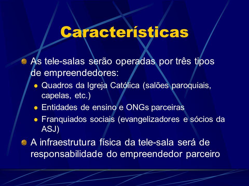 Características As tele-salas serão operadas por três tipos de empreendedores: Quadros da Igreja Católica (salões paroquiais, capelas, etc.) Entidades de ensino e ONGs parceiras Franquiados sociais (evangelizadores e sócios da ASJ) A infraestrutura física da tele-sala será de responsabilidade do empreendedor parceiro