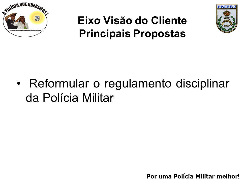Por uma Polícia Militar melhor! Eixo Visão do Cliente Principais Propostas Reformular o regulamento disciplinar da Polícia Militar