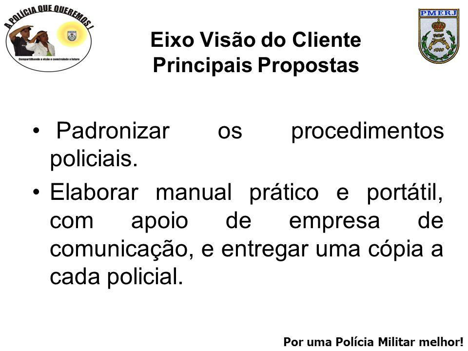 Por uma Polícia Militar melhor! Eixo Visão do Cliente Principais Propostas Padronizar os procedimentos policiais. Elaborar manual prático e portátil,