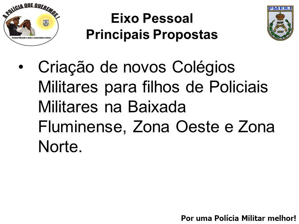Por uma Polícia Militar melhor! Eixo Pessoal Principais Propostas Criação de novos Colégios Militares para filhos de Policiais Militares na Baixada Fl