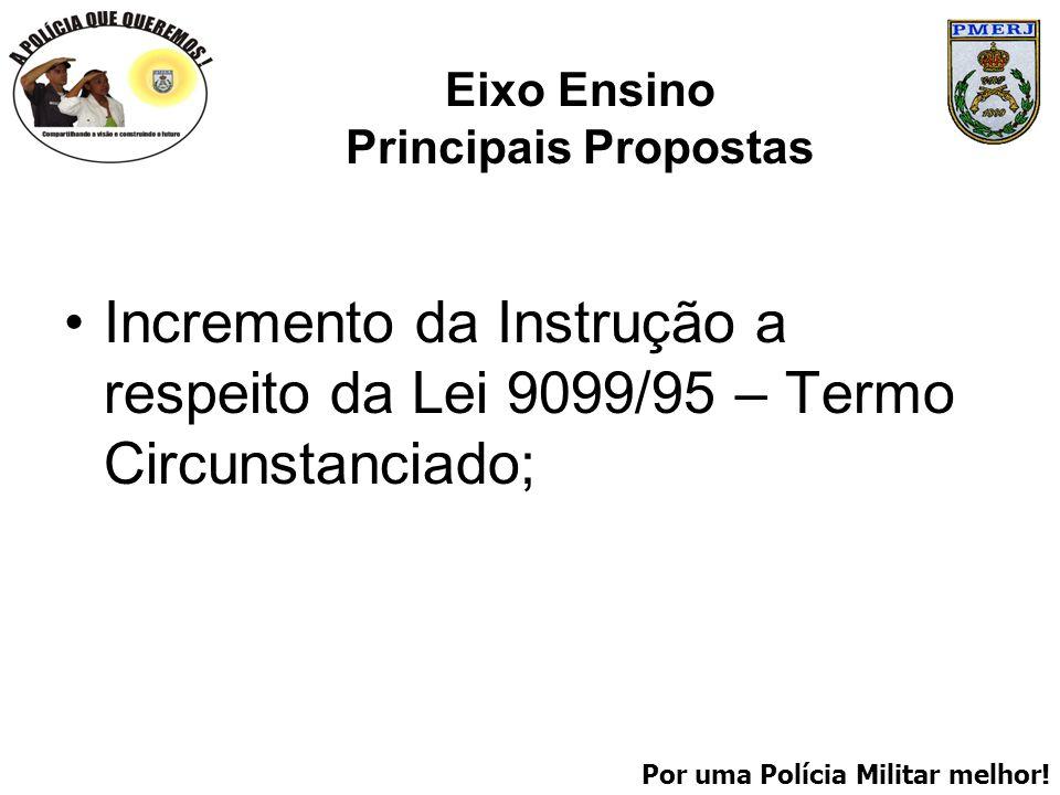 Por uma Polícia Militar melhor! Eixo Ensino Principais Propostas Incremento da Instrução a respeito da Lei 9099/95 – Termo Circunstanciado;