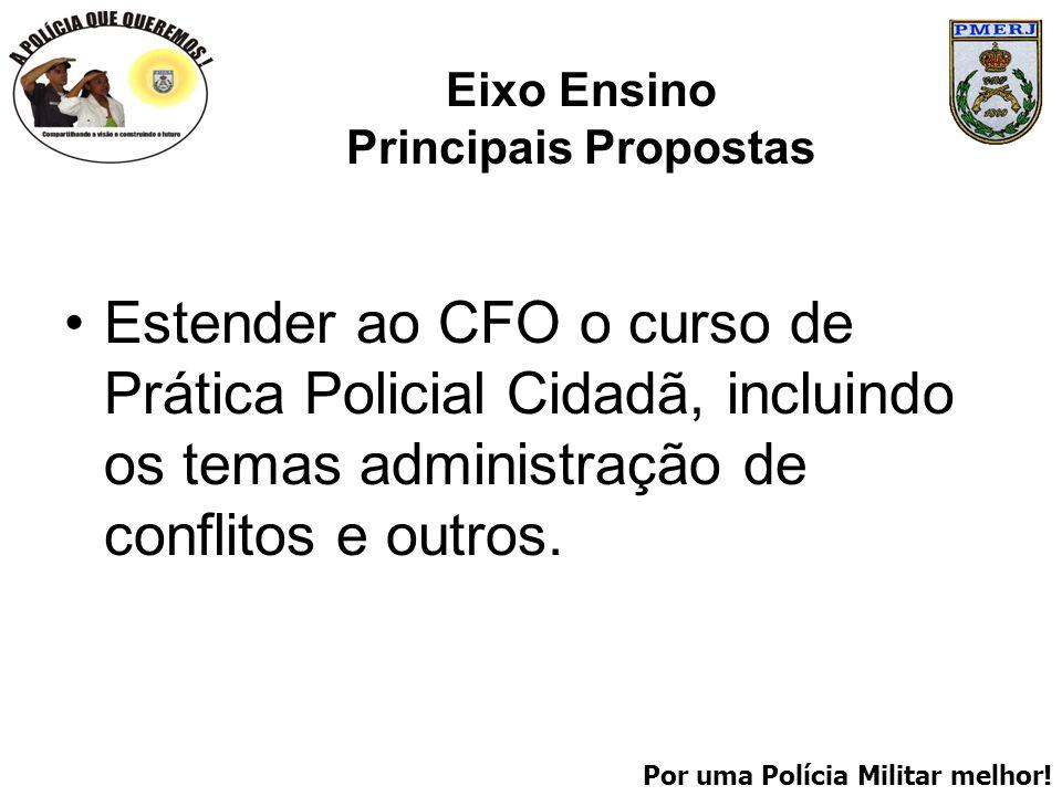 Por uma Polícia Militar melhor! Eixo Ensino Principais Propostas Estender ao CFO o curso de Prática Policial Cidadã, incluindo os temas administração