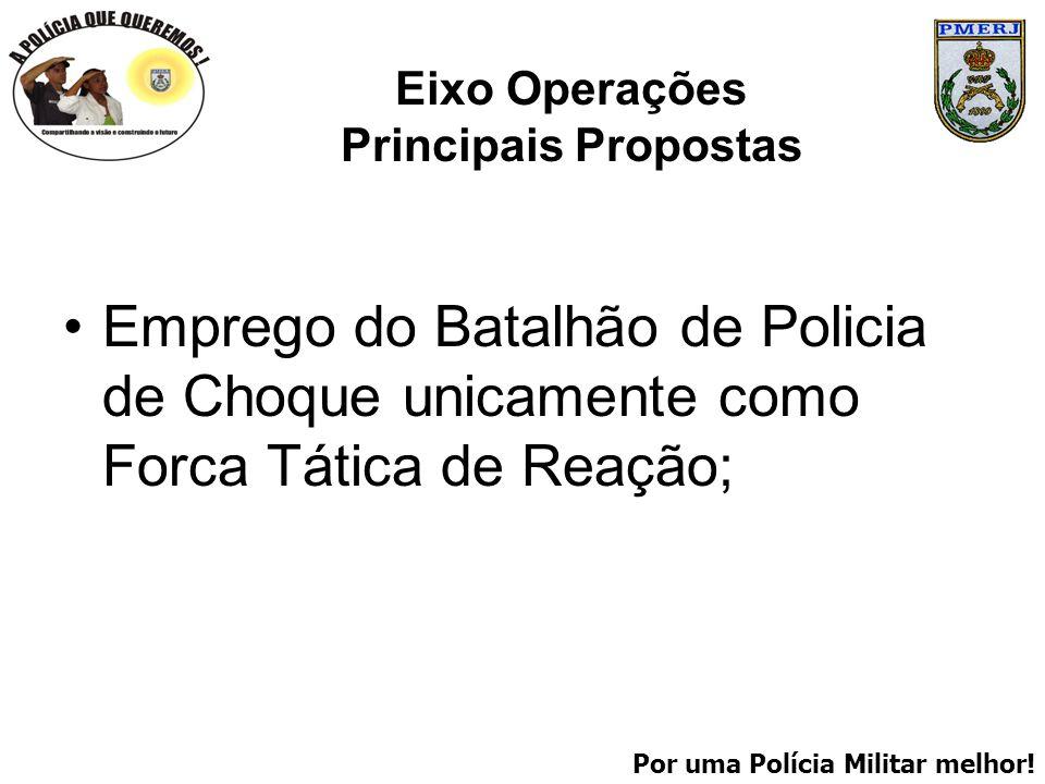 Por uma Polícia Militar melhor! Eixo Operações Principais Propostas Emprego do Batalhão de Policia de Choque unicamente como Forca Tática de Reação;
