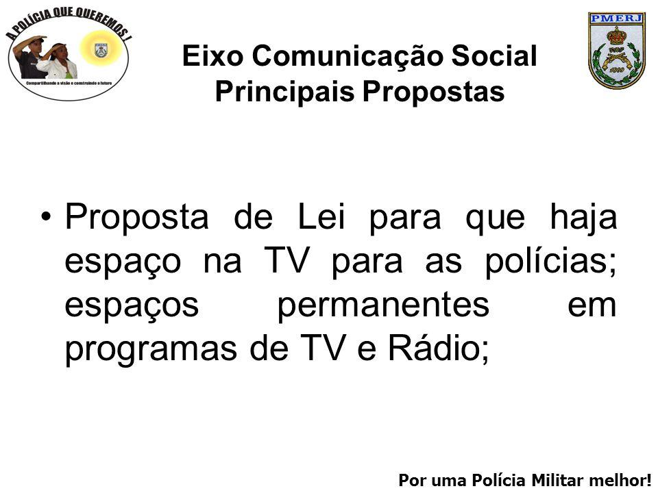 Por uma Polícia Militar melhor! Eixo Comunicação Social Principais Propostas Proposta de Lei para que haja espaço na TV para as polícias; espaços perm
