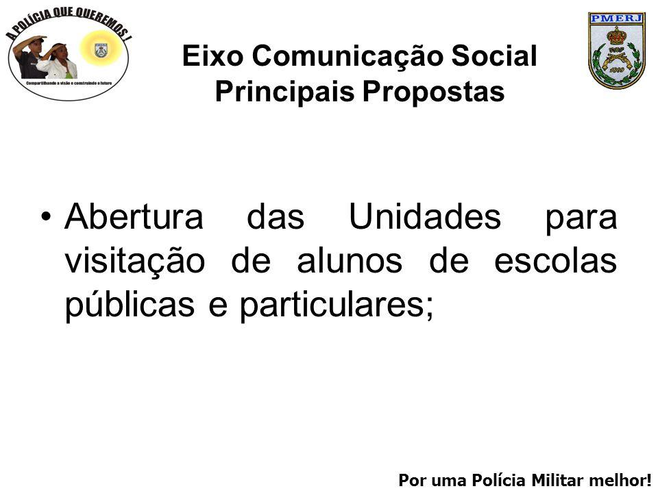 Por uma Polícia Militar melhor! Eixo Comunicação Social Principais Propostas Abertura das Unidades para visitação de alunos de escolas públicas e part