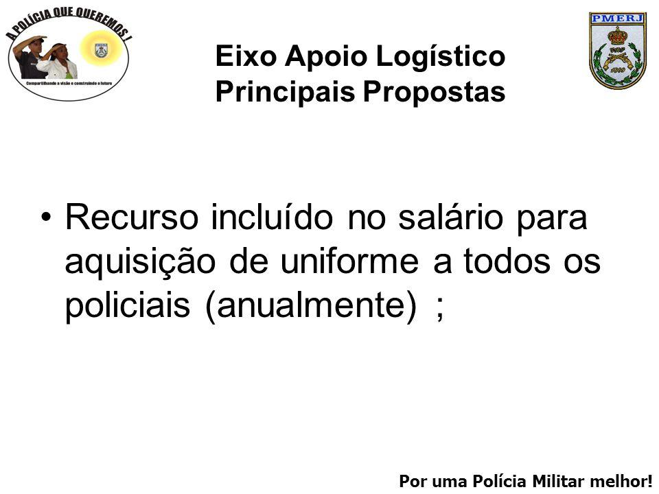 Por uma Polícia Militar melhor! Eixo Apoio Logístico Principais Propostas Recurso incluído no salário para aquisição de uniforme a todos os policiais