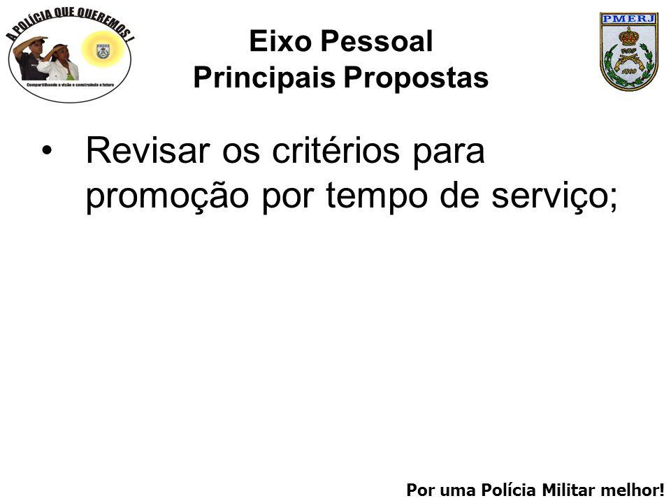 Por uma Polícia Militar melhor! Eixo Pessoal Principais Propostas Revisar os critérios para promoção por tempo de serviço;