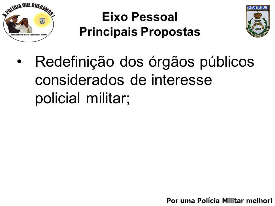 Por uma Polícia Militar melhor! Eixo Pessoal Principais Propostas Redefinição dos órgãos públicos considerados de interesse policial militar;