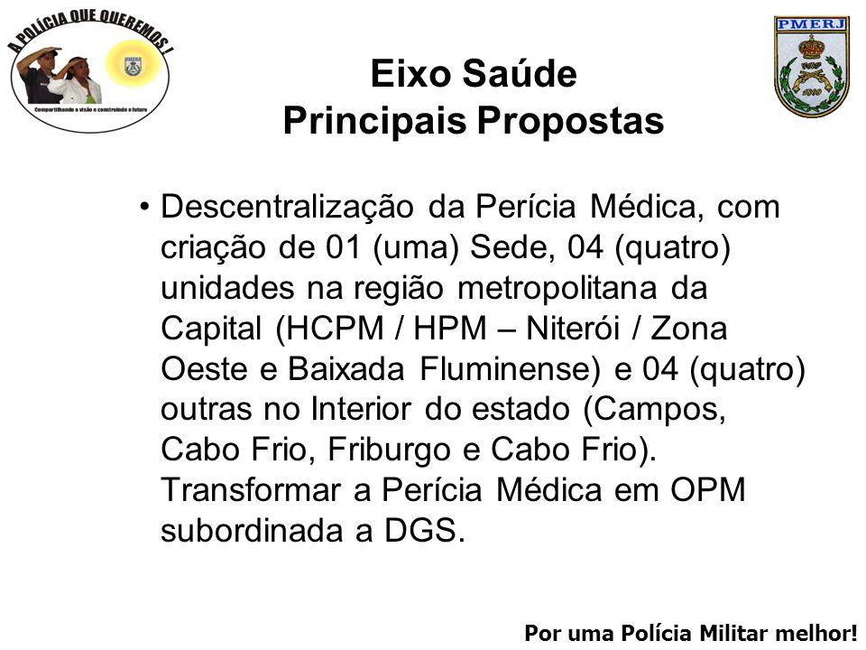 Por uma Polícia Militar melhor! Eixo Saúde Principais Propostas Descentralização da Perícia Médica, com criação de 01 (uma) Sede, 04 (quatro) unidades