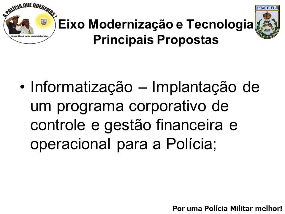 Por uma Polícia Militar melhor! Eixo Modernização e Tecnologia Principais Propostas Informatização – Implantação de um programa corporativo de control