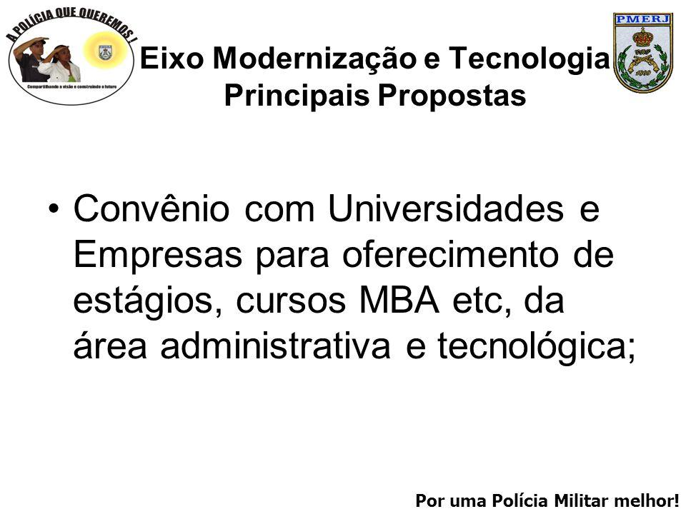 Por uma Polícia Militar melhor! Eixo Modernização e Tecnologia Principais Propostas Convênio com Universidades e Empresas para oferecimento de estágio