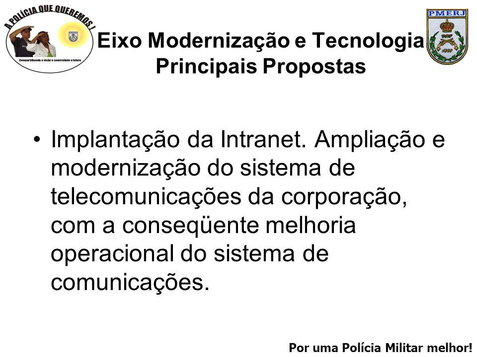 Por uma Polícia Militar melhor! Eixo Modernização e Tecnologia Principais Propostas Implantação da Intranet. Ampliação e modernização do sistema de te