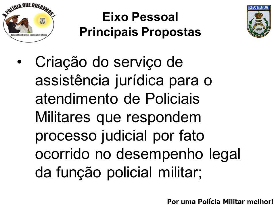 Por uma Polícia Militar melhor! Eixo Pessoal Principais Propostas Criação do serviço de assistência jurídica para o atendimento de Policiais Militares