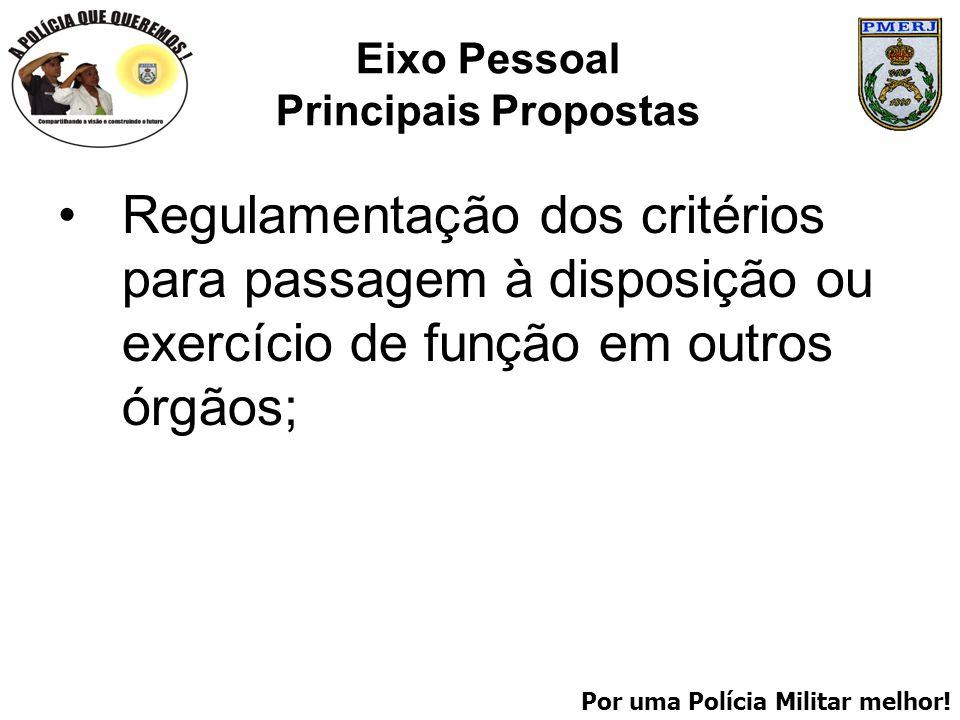 Por uma Polícia Militar melhor! Eixo Pessoal Principais Propostas Regulamentação dos critérios para passagem à disposição ou exercício de função em ou