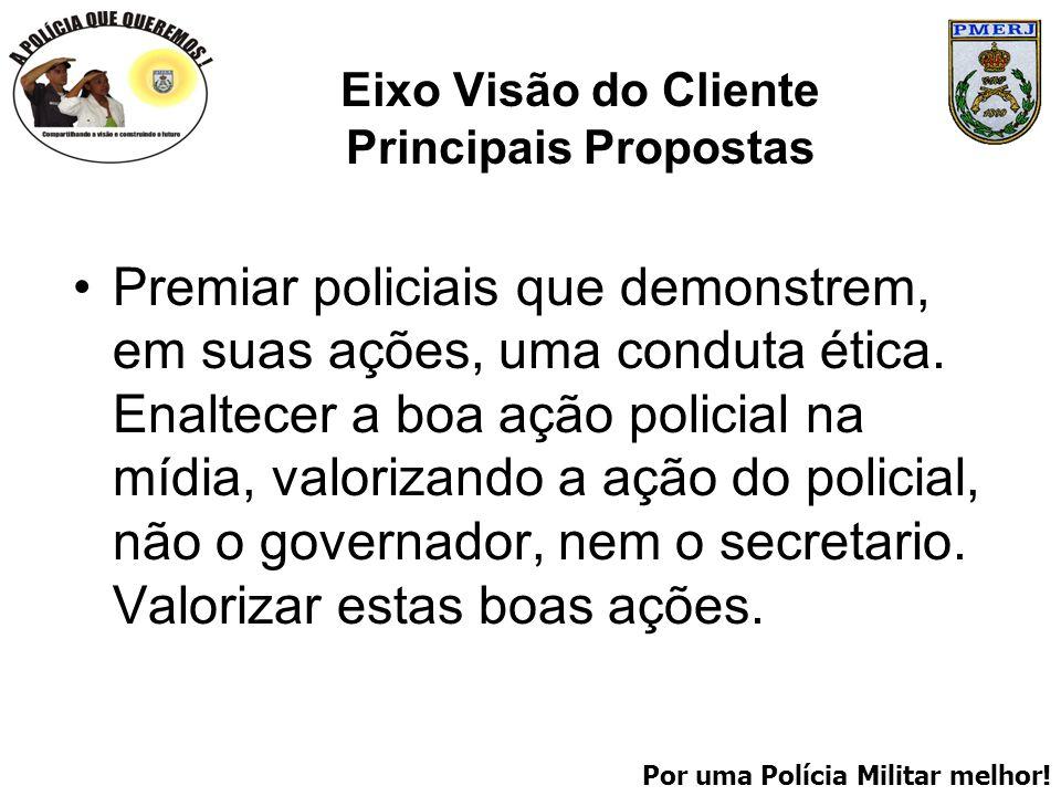 Por uma Polícia Militar melhor! Eixo Visão do Cliente Principais Propostas Premiar policiais que demonstrem, em suas ações, uma conduta ética. Enaltec