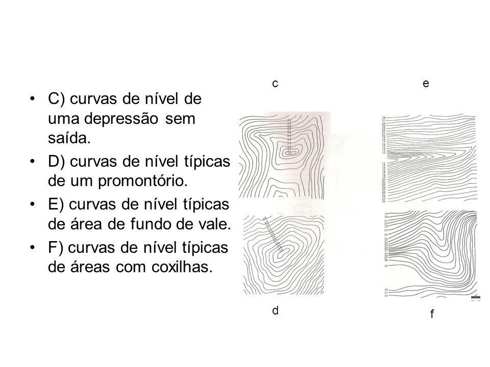 C) curvas de nível de uma depressão sem saída. D) curvas de nível típicas de um promontório. E) curvas de nível típicas de área de fundo de vale. F) c