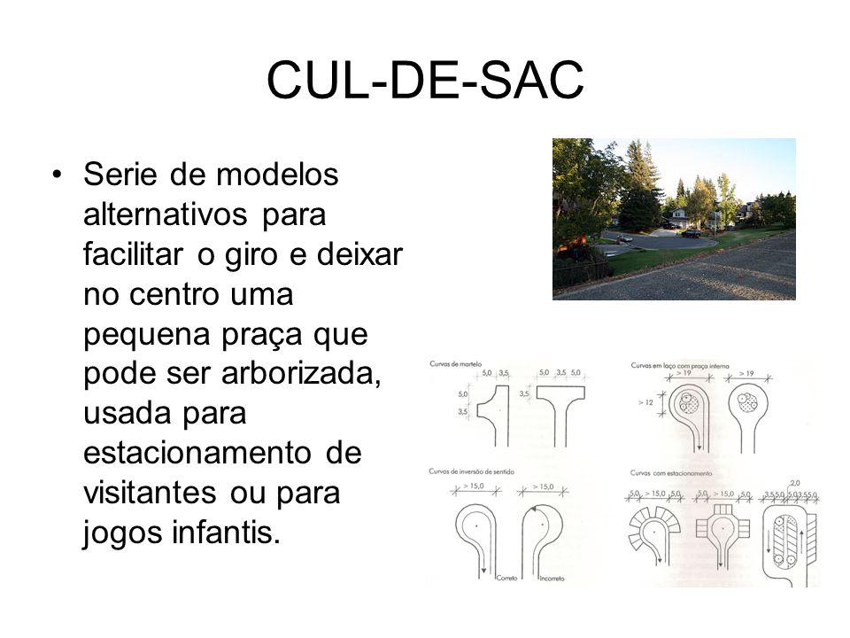 CUL-DE-SAC Serie de modelos alternativos para facilitar o giro e deixar no centro uma pequena praça que pode ser arborizada, usada para estacionamento