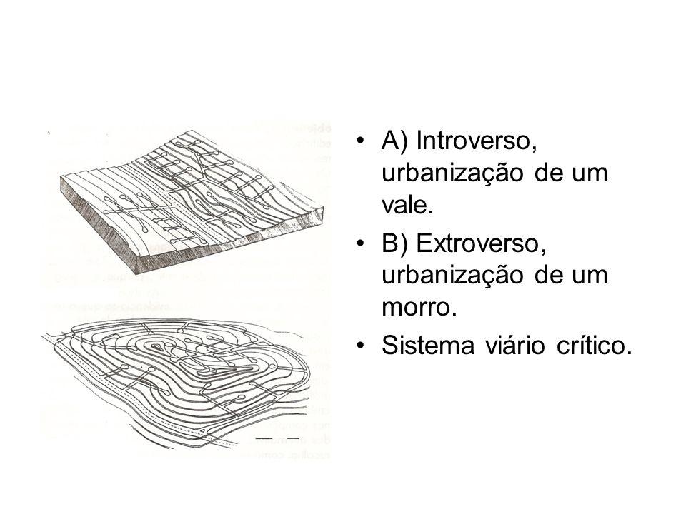 A) Introverso, urbanização de um vale. B) Extroverso, urbanização de um morro. Sistema viário crítico.