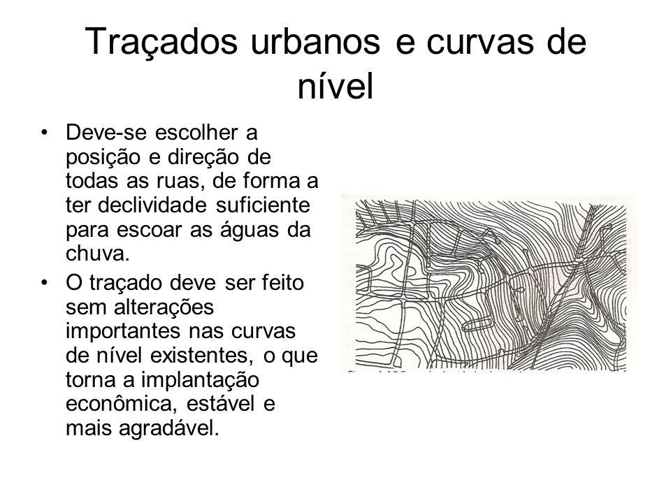 Traçados urbanos e curvas de nível Deve-se escolher a posição e direção de todas as ruas, de forma a ter declividade suficiente para escoar as águas d